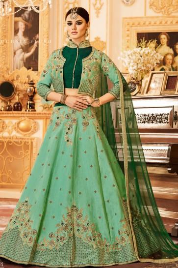 Stylish Green Silk Bridal Lehenga Choli With Net Dupatta