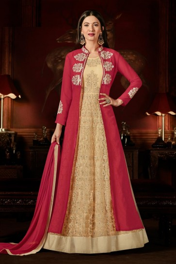 Gauhar Khan Pink and Cream Georgette Anarkali Salwar Kameez With Nazmin Dupatta