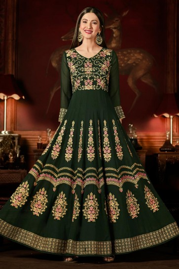 Gauhar Khan Green Georgette Anarkali Salwar Suit With Nazmin Dupatta