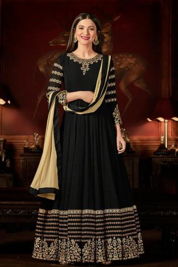 Gauhar Khan Black Georgette Embroidered Anarkali Salwar Suit With Nazmin Dupatta