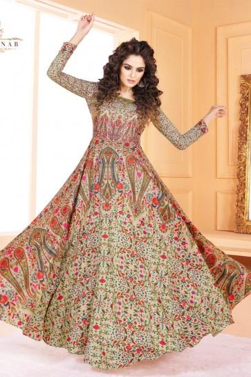 Gorgeous Beige Printed Salwar Suit