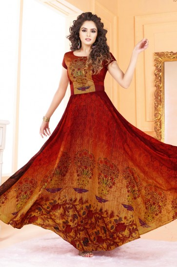 Pretty Orange and Red Silk Printed Salwar Kameez
