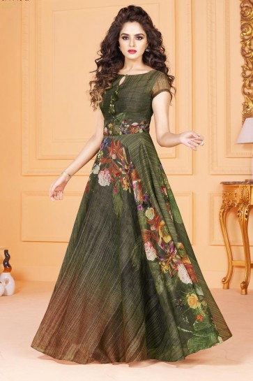 Lovely Green Long Length Party Wear Salwar Suit