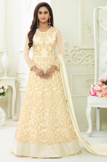 Off White Net Embroidered Designer Anarkali Salwar Suit With Nazmin Dupatta