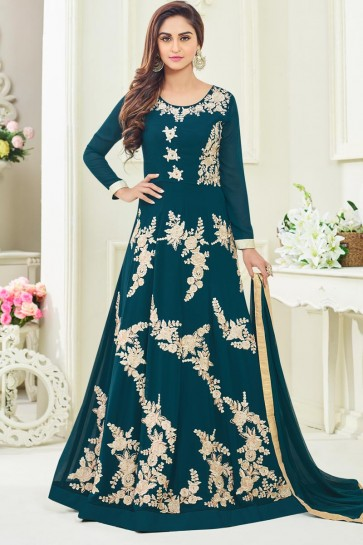 Ultimate Teal Georgette Designer Anarkali Salwar Suit With Nazmin Dupatta