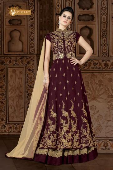 Embroidered Maroon Silk Designer Anarkali Salwar Suit With Net Dupatta