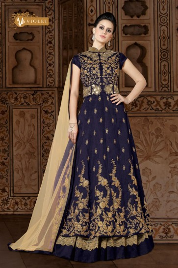 Navy Blue Silk Embroidered Anarkali Salwar Suit With Net Dupatta