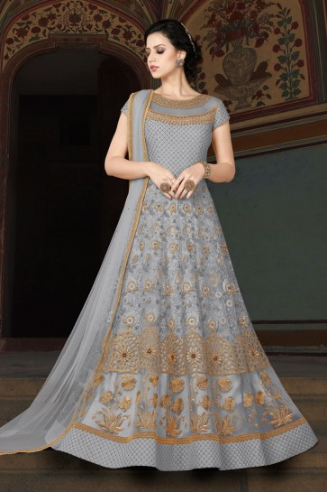 Optimum Grey Embroidered Anarkali Salwar Suit With Net Dupatta