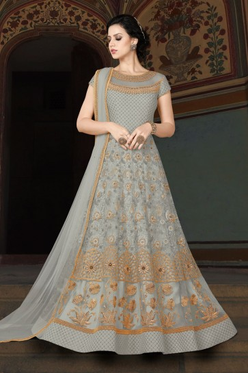 Embroidered Grey Net Anarkali Salwar Suit With Net Dupatta