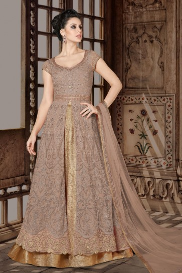 Supreme Chikoo Net Anarkali Salwar Suit With Net Dupatta