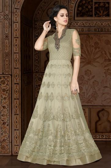 Green Embroidered Anarkali Salwar Suit With Net Dupatta
