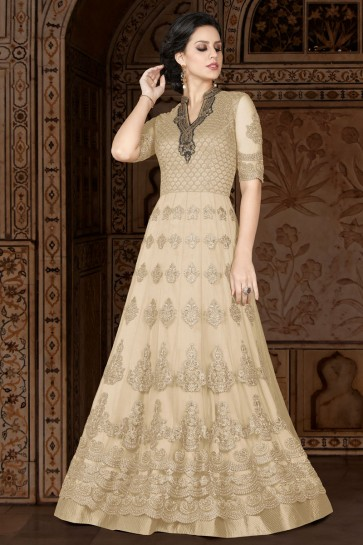 Graceful Beige Embroidered Anarkali Salwar Suit With Net Dupatta