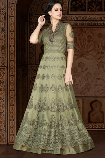 Ultimate Green Net Embroidered Anarkali Salwar Suit With Net Dupatta