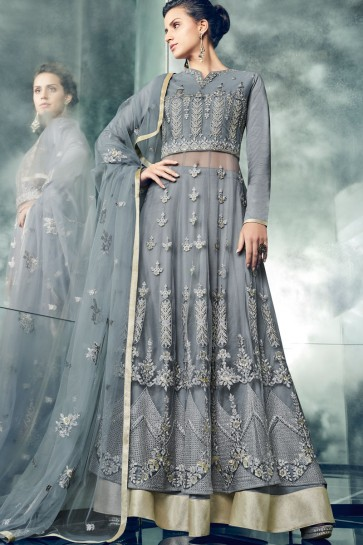 Stylish Grey Net Embroidered Anarkali Salwar Suit With Net Dupatta