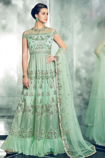 Embroidered Sea Green Net Anarkali Salwar Suit With Net Dupatta