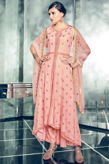 Beautiful Pink Net Embroidered Anarkali Salwar Suit With Net Dupatta