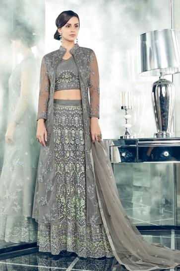 Grey Net Embroidered Anarkali Salwar Suit With Net Dupatta