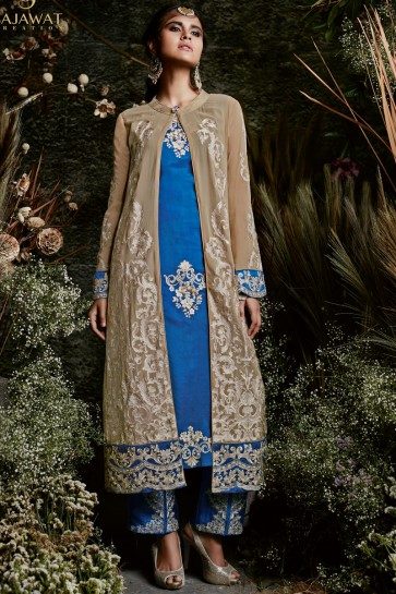 Embroidered Beige and Blue Straight Pant Salwar Suit With Nazmin Dupatta