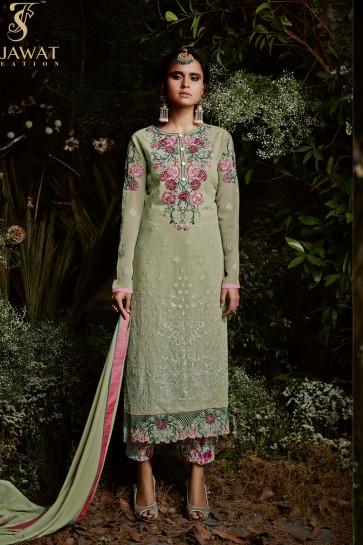 Desirable Green Long Length Salwar Suit With Nazmin Dupatta