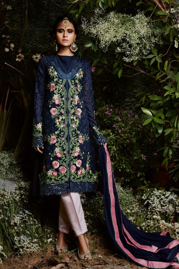Embroidered Navy Blue Salwar Suit With Nazmin Dupatta