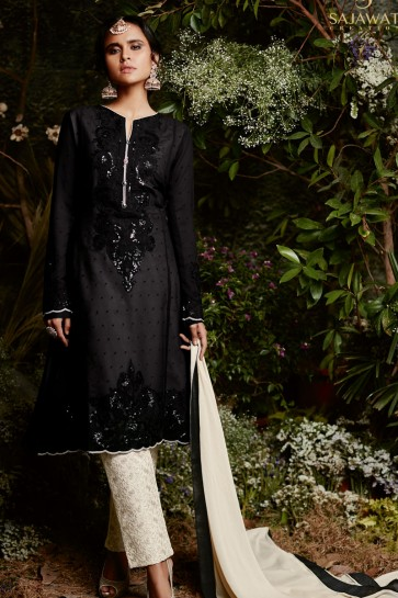 Charming Black Embroidered Salwar Suit With Nazmin Dupatta