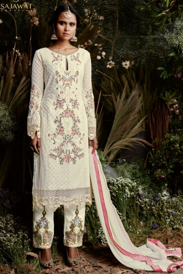 Pretty Off White Long Length Embroidered Salwar Suit With Nazmin Dupatta