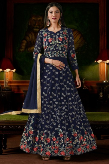 Gauhar Khan Navy Blue Georgette Hand Work Anarkali Salwar Kameez With Nazmin Dupatta