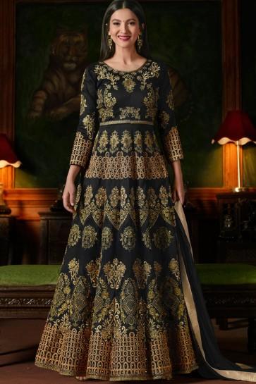 Gauhar Khan Gorgeous Black Silk Hand Work Anarkali Salwar Suit With Nazmin Dupatta