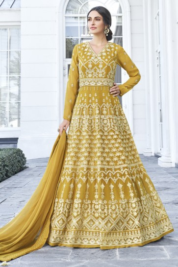Embroidered Mustard Georgette Fabric Anarkali Suit Nazmin Dupatta