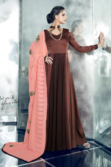 Brown Silk and Satin Designer Anarkali Salwar With Georgette Dupatta