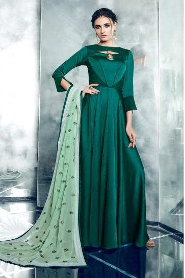 Classic Green Silk and Satin Designer Anarkali Salwar With Georgette Dupatta