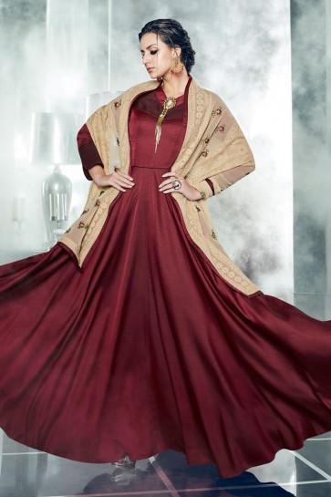 Maroon Silk and Satin Designer Anarkali Salwar With Georgette Dupatta