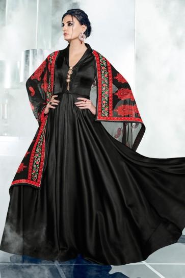Stylish Black Silk and Satin Designer Anarkali Salwar With Georgette Dupatta