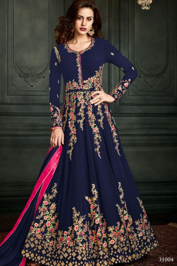 Excellent Navy Blue Georgette Designer Anarkali Salwar Suit With Nazmin Dupatta