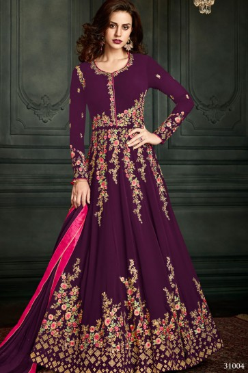 Purple Georgette Embroidered Anarkali Salwar Suit With Nazmin Dupatta
