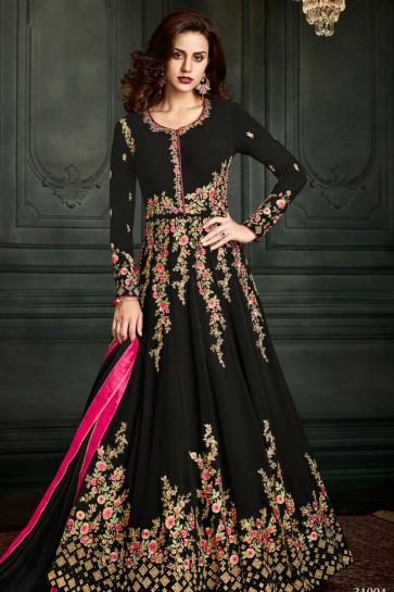 Beautiful Black Embroidered Anarkali Salwar Suit With Nazmin Dupatta