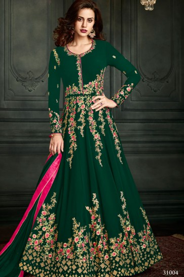 Admirable Green Georgette Embroidered Designer Anarkali Salwar Suit With Nazmin Dupatta