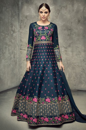 Excellent Navy Blue Silk Embroidered Anarkali Salwar Suit With Chiffon Dupatta