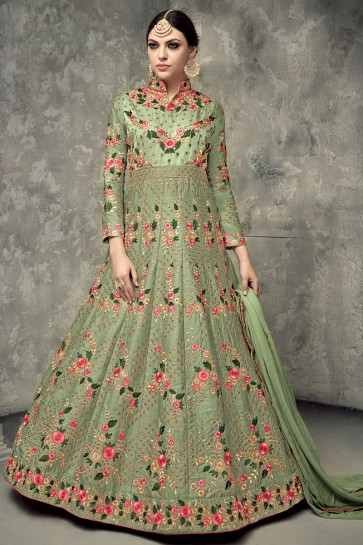 Green Silk Embroidered Designer Anarkali Salwar Kameez With Chiffon Dupatta
