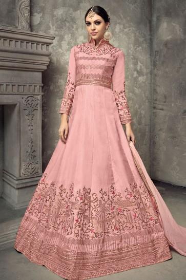 Pink Silk Embroidered Anarkali Salwar Suit With Chiffon Dupatta