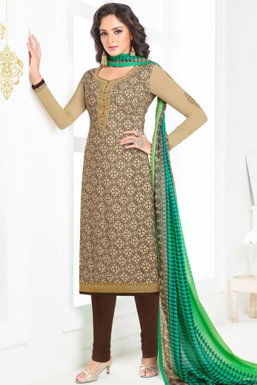 Stylish Cream Crepe Long Length Designer Salwar Kameez With Chiffon Dupatta