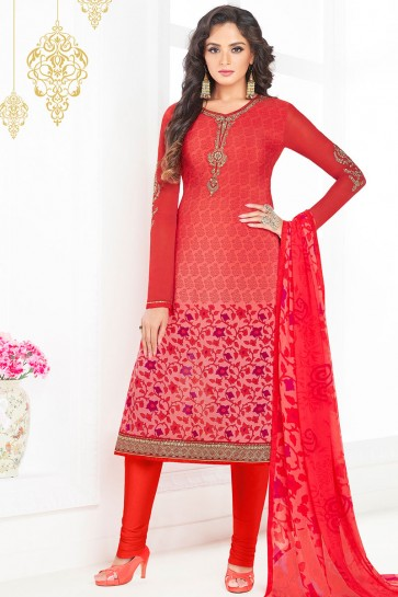 Charming Red Crepe Embroidered Salwar Kameez With Chiffon Dupatta