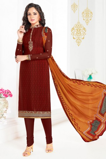 Brown Embroidered Designer Salwars Suit With Chiffon Dupatta