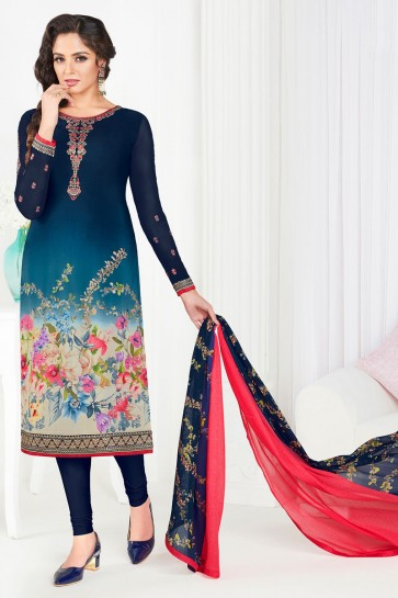 Ultimate Blue Crepe Long Length Embroidered Salwar Kameez With Chiffon Dupatta