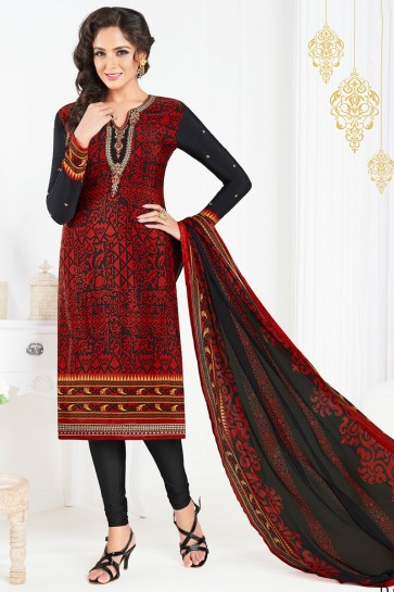 Supreme Black and Red Crepe Embroidered Designer Salwar Kameez With Chiffon Dupatta