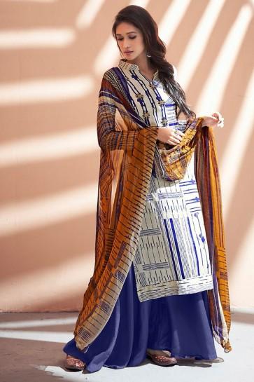 Stylish Blue Silk Party Wear Sharara Plazo Salwar Suit