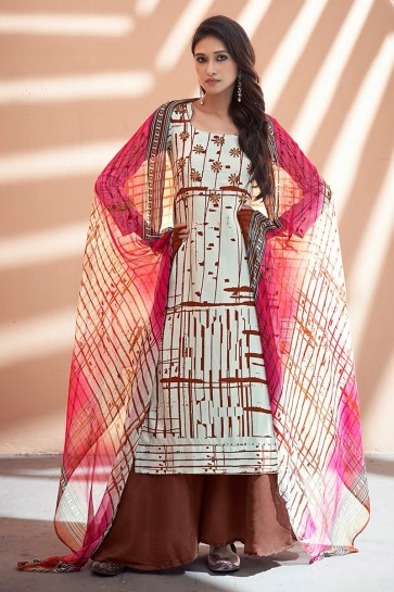 Classic Brown Net Embroidered Sharara Plazo Salwar Kameez