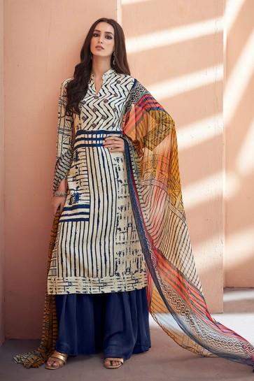 Gorgeous Blue Silk Party Wear Sharara Plazo Salwar Suit
