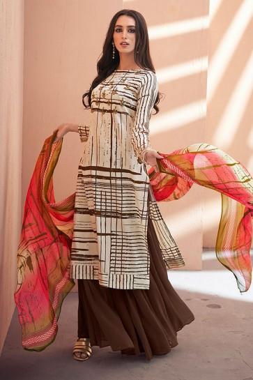 Lovely Chikoo Silk Embroidered Sharara Plazo Salwar Suit