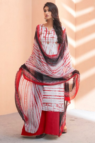 Excellent Red Silk Embroidered Party Wear Sharara Plazo Salwar Kameez